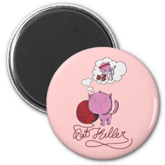 sweet kittie or rat killer 6 cm round magnet