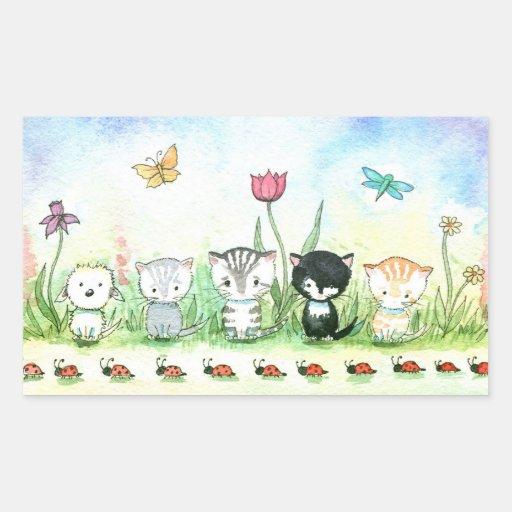Sweet Kitty Cat Puppy Ladybug Stickers