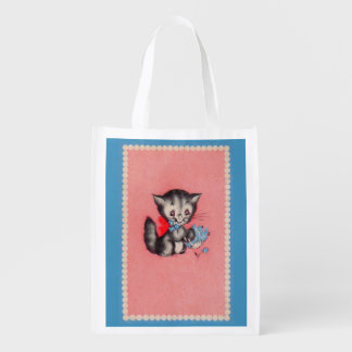 sweet kitty cat reusable grocery bag