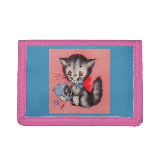 sweet kitty cat trifold wallet