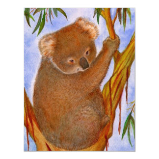 Sweet Koala Bear In A Tree Birthday Invitation