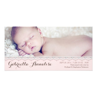 Sweet Lace Baby Girl Photo Birth Announcement Personalised Photo Card