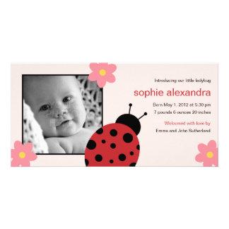 Sweet Ladybug Baby Girl Birth Announcement Card