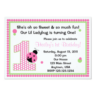 Sweet Ladybug Pink Birthday Invitation