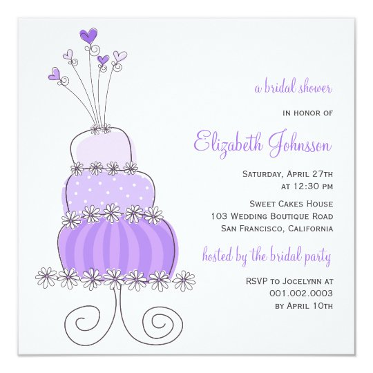Sweet Lavender Wedding Cake Bridal Shower Invite