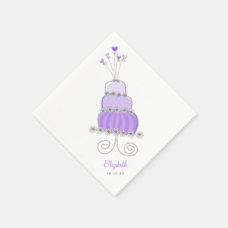 Sweet Lavender Wedding Cake Bridal Shower Party Disposable Napkin