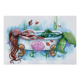 Sweet Life, Mermaid in a Bathtub Poster
