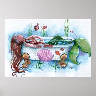 Sweet Life, Mermaid in a Bathtub Print