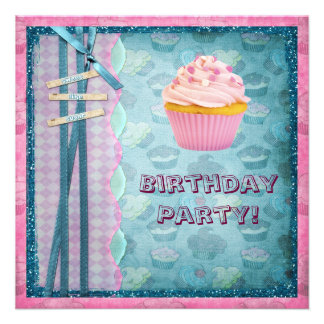 Sweet Like Sugar Cupcakes Glitter Party Invites