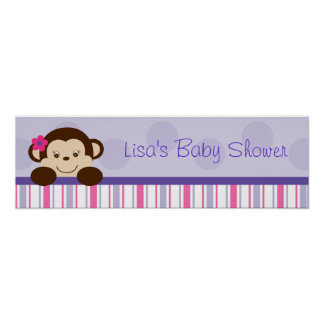 Sweet Lil Girl Monkey Birthday Banner Sign Poster
