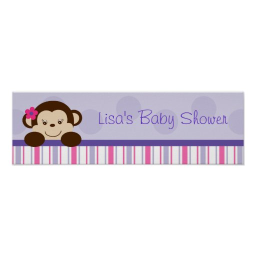 Sweet Lil Girl Monkey Birthday Banner Sign Posters