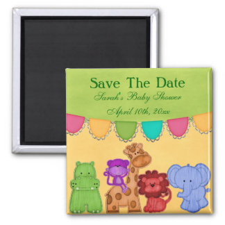 Sweet Lil Jungle Animals Safari Baby Shower Square Magnet