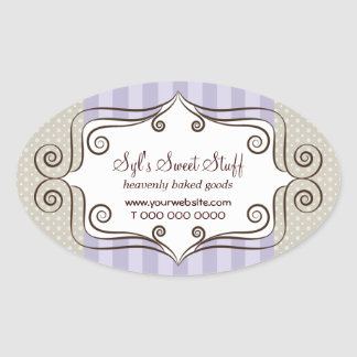 Sweet Lilac and Polka Dots Oval Stickers