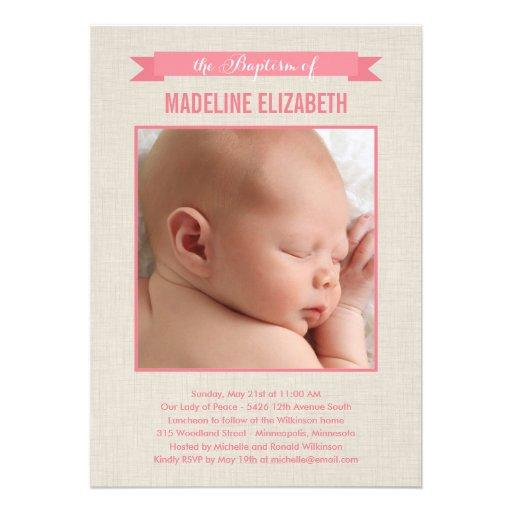 Sweet Linen Photo Baptism Invitation - Pink Personalized Invites