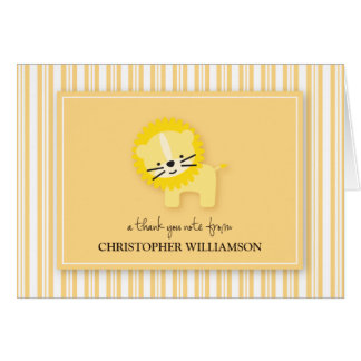 Sweet Lion Kids Thank-You Card (lemon)
