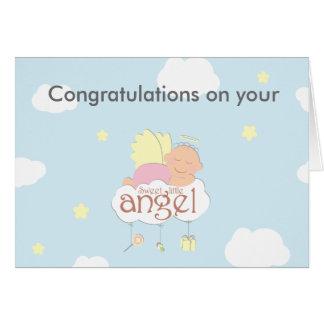 Sweet little angel blue greeting card
