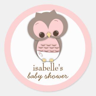 Sweet Little Baby Girl Owl Favor Sticker