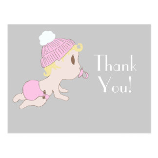 Sweet Little Baby Girl Thankyou Note Postcards