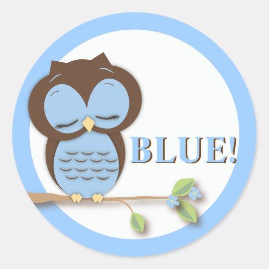 Sweet Little Boy Owl on a Branch Team BLUE! Classic Round Sticker