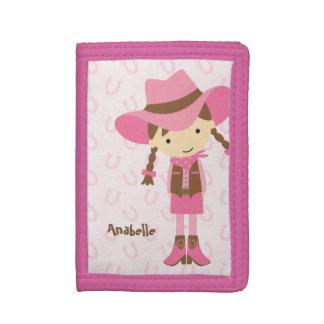 Sweet Little Brunette Cowgirl Trifold Wallet