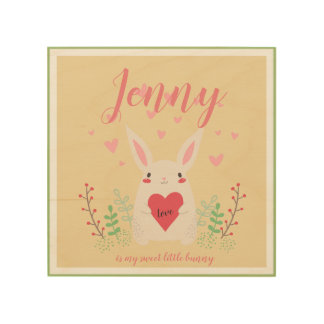 Sweet Little Bunny with Hearts, Springtime Wood Print
