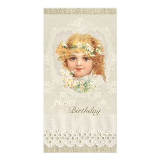 Sweet little girl CC0135 Ellen Clapsaddle Birthday Customised Photo Card