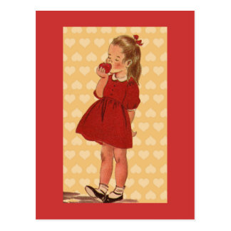 Sweet Little Girl With Apple Postcard