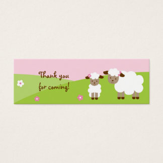 Sweet Little Lamb Baby Girl Goodie Bag Tags Mini Business Card