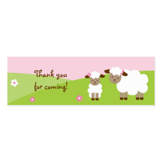 Sweet Little Lamb Baby Girl Goodie Bag Tags Pack Of Skinny Business Cards