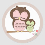 Sweet Little Mama & Baby Owl on a Branch Round Sticker