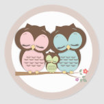 Sweet Little Owl Family on a Branch Round Sticker