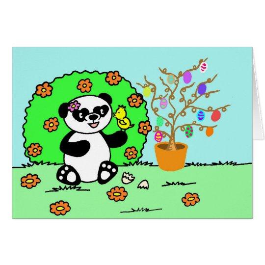 Sweet little panda is celebrating Easter Card