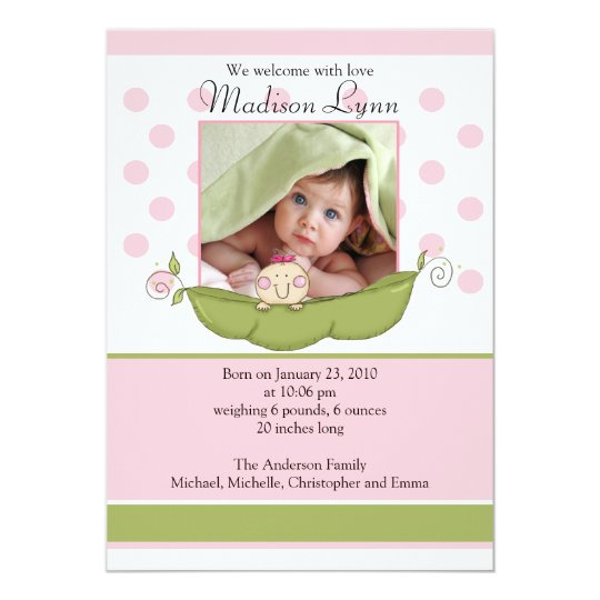 Sweet Little Pea Baby Girl Photo Announcement Card