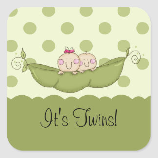 Sweet Little Pea Baby Twins Square Sticker
