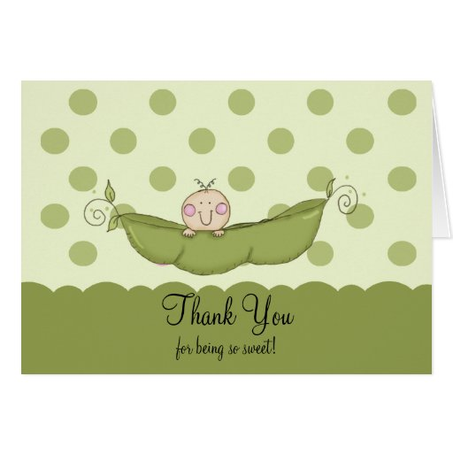 Sweet Little Pea Boy Thank You Note Card