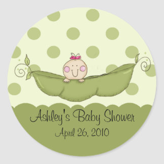 Sweet Little Pea Girl Baby Shower Sticker