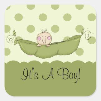 Sweet Little Pea It's A Boy Square Sticker