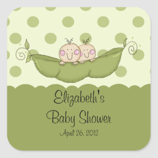 Sweet Little Pea Twins Baby Shower square sticker