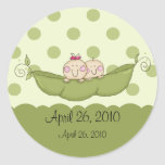 Sweet Little Pea Twins Baby Shower Sticker