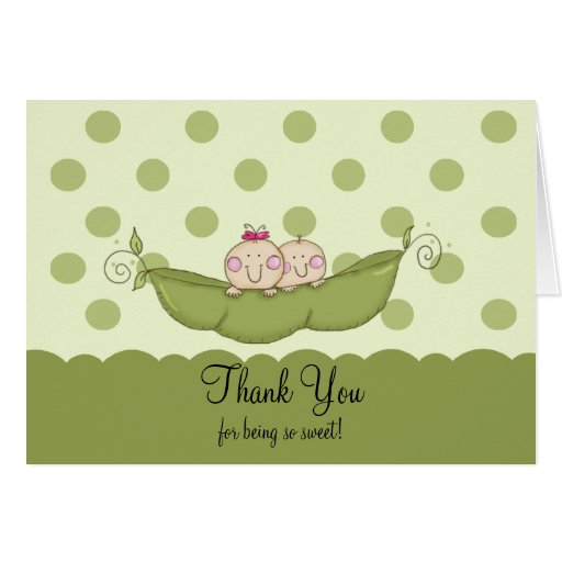 Sweet Little Pea Twins Thank You Note Card