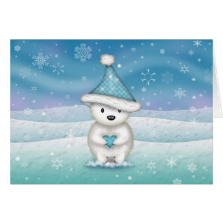 Sweet Little Polar Bear Holding Heart Holiday Card