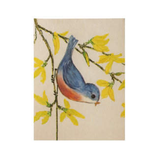 Sweet Little Red and Blue Singing Bird Flowers Wood Poster