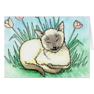 Sweet Little Siamese Cat Card