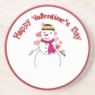 Sweet Little Snow Girl - Happy Valentine s Day Beverage Coaster
