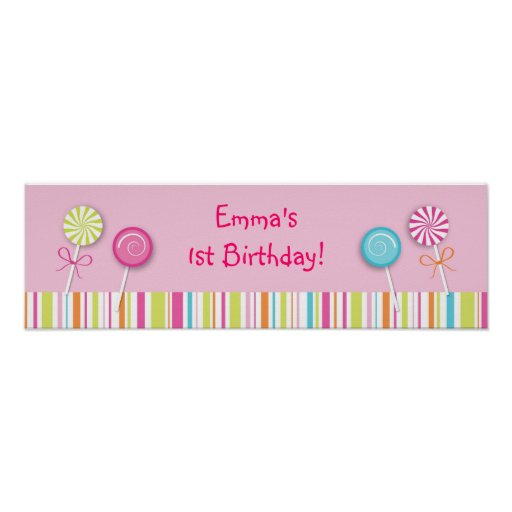Sweet Lollipop Candy Baby Shower Banner Sign Print