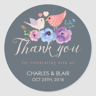 Sweet Love Bird Flower Thank You Wedding Sticker