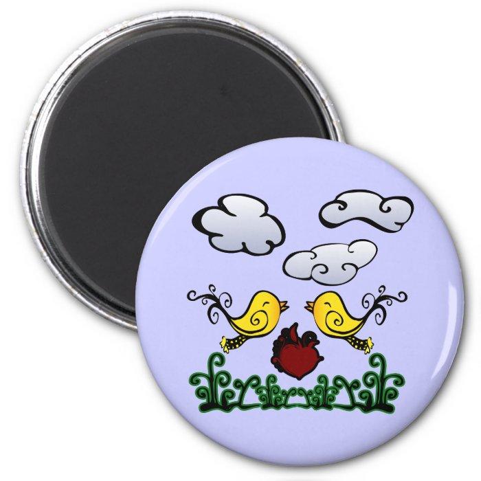 Sweet Love Birds Cartoon Scene 6 Cm Round Magnet