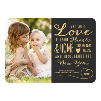 Sweet Love Gold Type Holiday Photo Card / Gray 13 Cm X 18 Cm Invitation Card