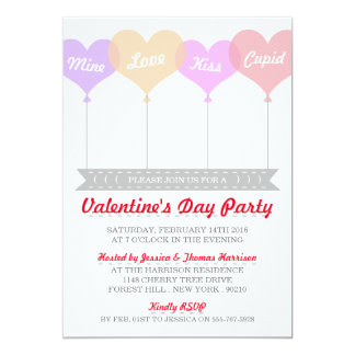 Sweet Love Heart Balloons Valentine's Day Party 13 Cm X 18 Cm Invitation Card
