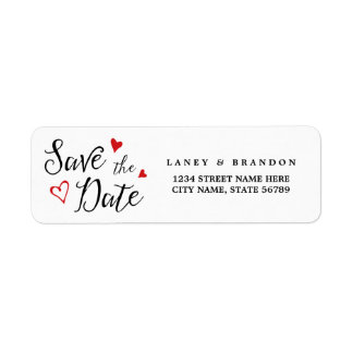 Sweet Love Save the Date Return Address | Red Return Address Label